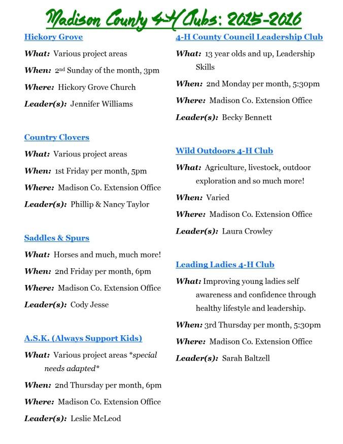 Club Info 2015 2016